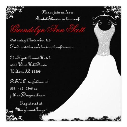 Ducha nupcial negra y roja del vestido de boda comunicados personalizados