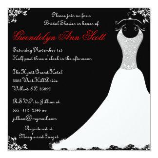 """Ducha nupcial negra y roja del vestido de boda invitación 5.25"""" x 5.25"""""""