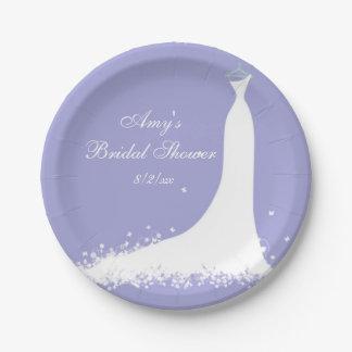 Ducha nupcial, novia, púrpura plato de papel de 7 pulgadas