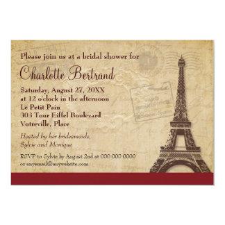 """Ducha nupcial parisiense de la torre Eiffel Invitación 5"""" X 7"""""""