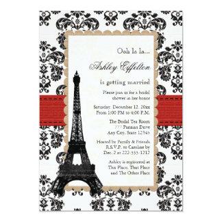 """Ducha nupcial parisiense de la torre Eiffel roja Invitación 5"""" X 7"""""""