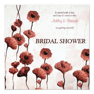 Ducha nupcial pintada de las flores rojas invitación 13,3 cm x 13,3cm