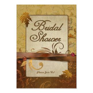 Ducha nupcial pulida del oro del otoño invitaciones personales