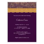 Ducha nupcial púrpura del cordón del damasco y del invitaciones personales