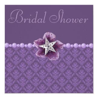 """Ducha nupcial púrpura del damasco, de la flor, de invitación 5.25"""" x 5.25"""""""