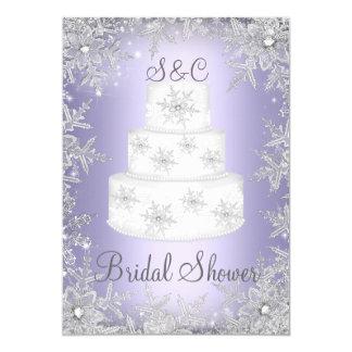 """Ducha nupcial púrpura del pastel de bodas del invitación 5"""" x 7"""""""