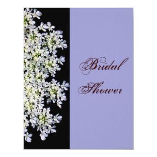 """ducha nupcial púrpura floral blanca del vintage invitación 4.25"""" x 5.5"""""""