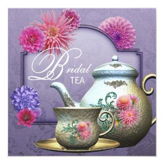 Ducha nupcial púrpura rosada del té de la dalia invitación