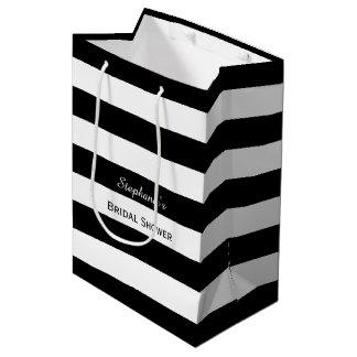 Ducha nupcial rayada blanco y negro bolsa de regalo mediana