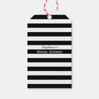 Ducha nupcial rayada blanco y negro etiquetas para regalos