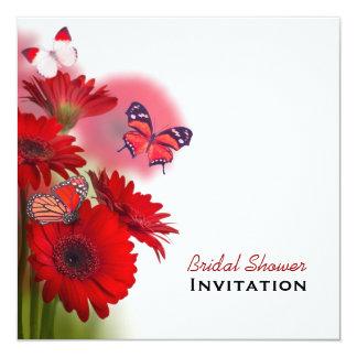 Ducha nupcial roja de las margaritas y de las invitación
