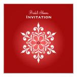 Ducha nupcial roja del copo de nieve grande invitación 13,3 cm x 13,3cm