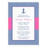 Ducha nupcial rosada azul del ancla náutica de anuncio personalizado