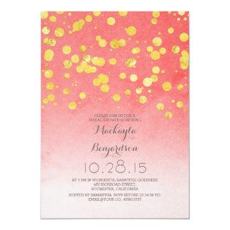 """ducha nupcial rosada coralina del confeti del invitación 5"""" x 7"""""""