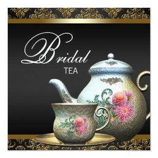 Ducha nupcial rosada de la taza de té del damasco invitaciones personalizada