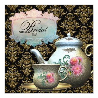 """Ducha nupcial rosada de la taza de té del damasco invitación 5.25"""" x 5.25"""""""