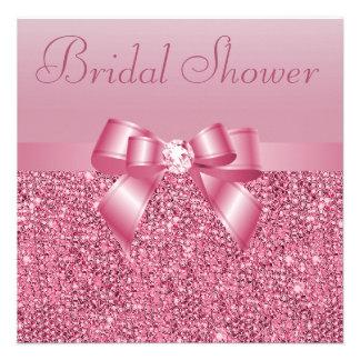 Ducha nupcial rosada de las lentejuelas del arco invitacion personalizada