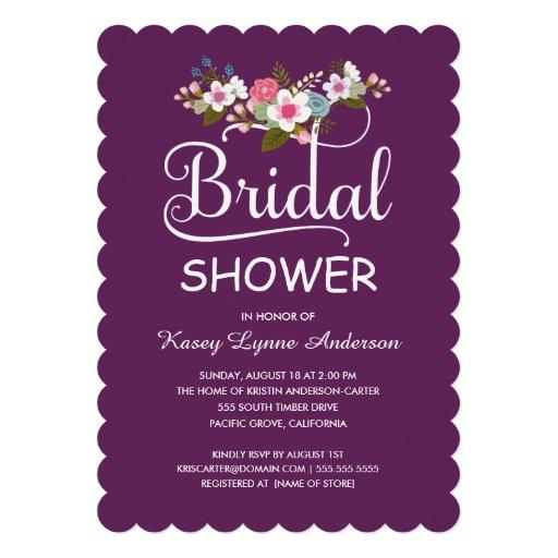 Ducha nupcial rústica del ramo floral - púrpura invitaciones personales
