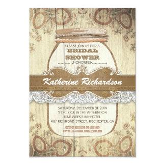 ducha nupcial rústica del tarro de albañil del invitación personalizada