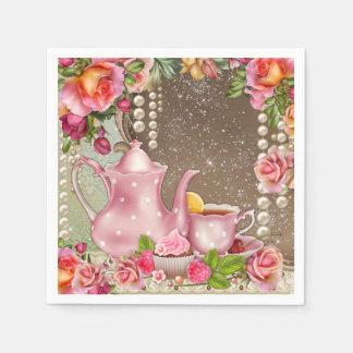 Ducha nupcial subió perla de la fiesta del té servilletas de papel