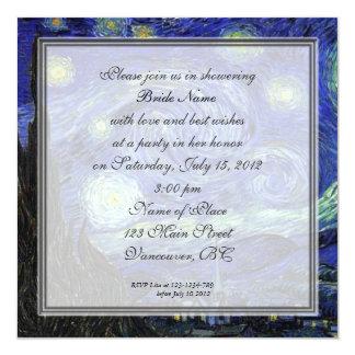 """Ducha nupcial, Vincent van Gogh, noche estrellada Invitación 5.25"""" X 5.25"""""""
