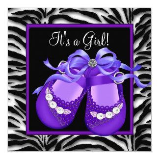 """Ducha púrpura de la niña de la cebra de los invitación 5.25"""" x 5.25"""""""