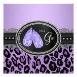 Ducha púrpura de la niña del leopardo de la lavand invitacion personalizada