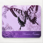 Ducha púrpura elegante del boda de la mariposa alfombrilla de ratones