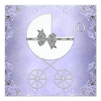 """Ducha púrpura y gris elegante de la niña invitación 5.25"""" x 5.25"""""""