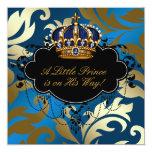 Ducha real del príncipe bebé del negro de azules invitaciones personales