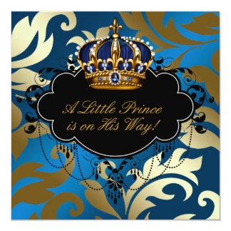 Ducha real del príncipe bebé del negro de azules invitación 13,3 cm x 13,3cm