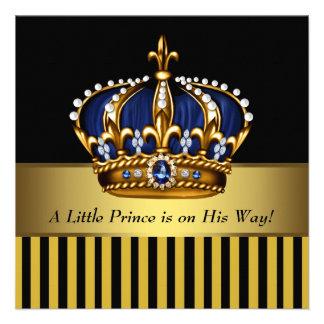 Ducha real del príncipe bebé del oro del negro de invitaciones personales