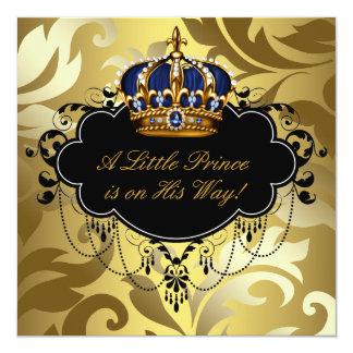 Ducha real del príncipe bebé del oro del negro de invitación 13,3 cm x 13,3cm