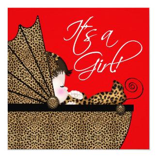 """Ducha roja de la niña del leopardo invitación 5.25"""" x 5.25"""""""