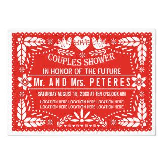 Ducha roja de los pares del boda del picado de invitación 12,7 x 17,8 cm