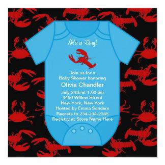 """Ducha roja Invita del bebé de los cangrejos de la Invitación 5.25"""" X 5.25"""""""