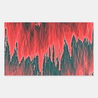 ducha roja pegatina rectangular