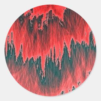 ducha roja pegatina redonda
