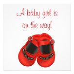 Ducha roja roja de la niña de los zapatos de bebé  invitacion personal