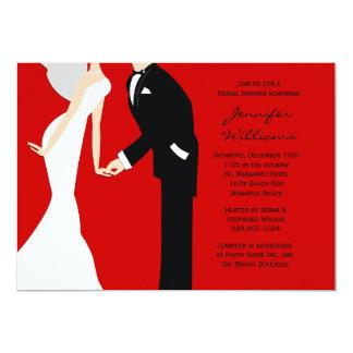 """Ducha roja y negra del boda de novia y del novio invitación 5"""" x 7"""""""
