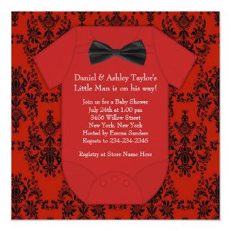 Ducha roja y negra linda del bebé invitación 13,3 cm x 13,3cm