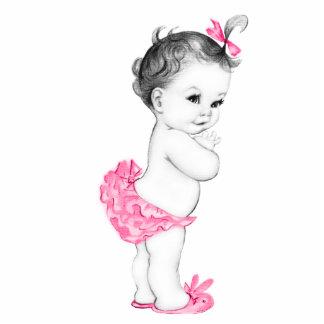 Ducha rosada adorable de la niña escultura fotográfica