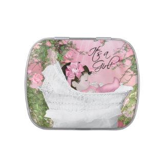 Ducha rosada de la niña de la rosaleda jarrones de caramelos