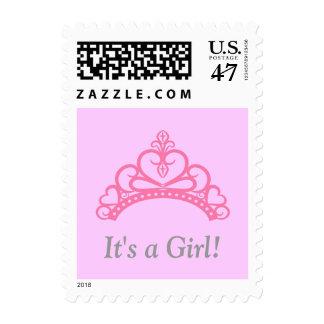 Ducha rosada de la niña de princesa Tiara Crown Estampilla