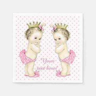 Ducha rosada de la niña de princesa Twin del Servilleta Desechable