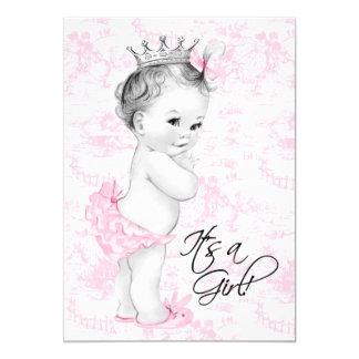 Ducha rosada de la niña de Toile Invitacion Personalizada