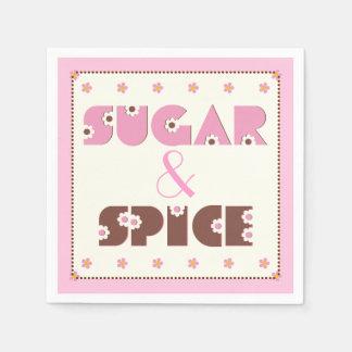 Ducha rosada de la niña del azúcar y de la especia servilleta desechable