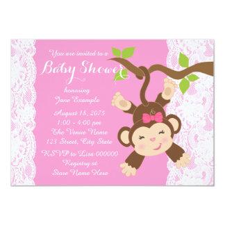 """Ducha rosada de la niña del mono del cordón invitación 4.5"""" x 6.25"""""""