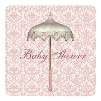 """Ducha rosada de la niña del paraguas del parasol invitación 5.25"""" x 5.25"""""""