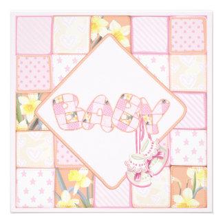 Ducha rosada de la niña del remiendo de los botine comunicados personalizados